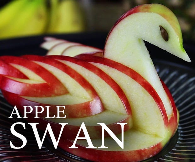 fruit decoration,apple decorations,apple swan decoration,fruit apple swan,apple swan made with fruits,apple swan craft,recipes,spicy fusion kitchen,fruit arrangements,apple swan arrangement