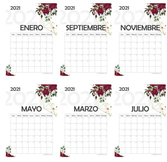 calendario 2021 para imprimir gratis