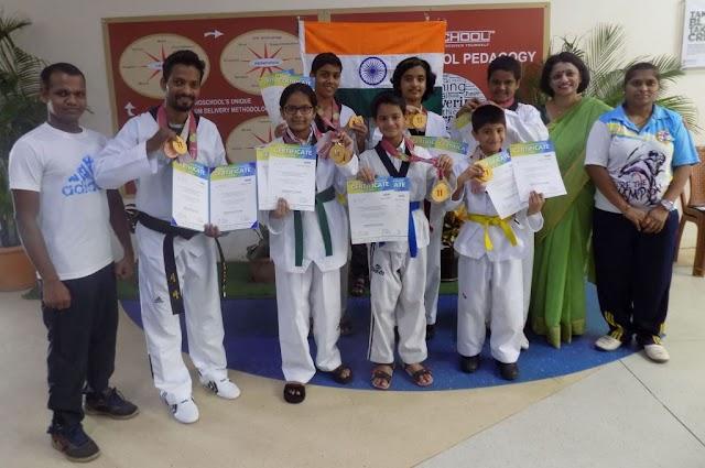 Krutika Chavan from EuroSchool Airoli shine at International Taekwondo Championship in South Korea