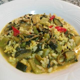 Arroz con verdolaga y verduras al curry