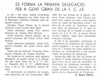 Constitución de la Delegación de Veteranos de la Federación Catalana de Ajedrez en 1984