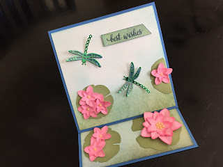 Hand made easel birthday card with die cut waterlilies and dragonflies