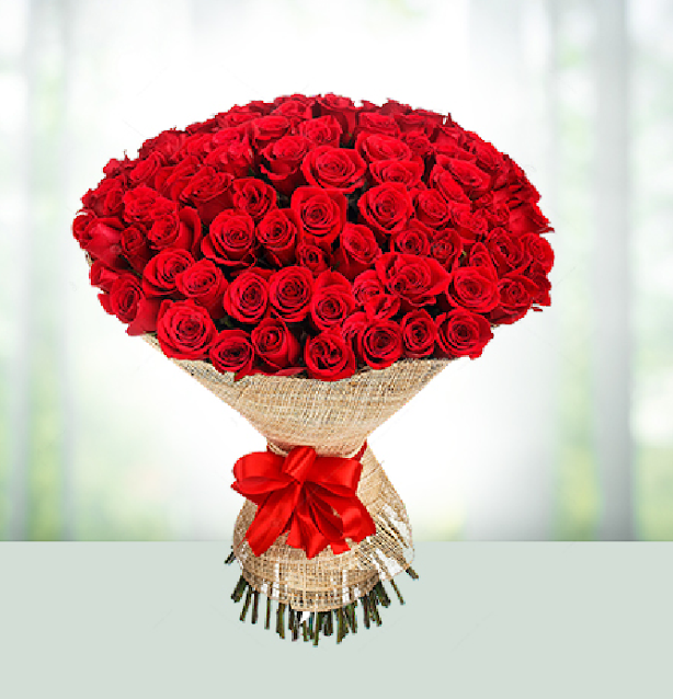 bouquet bunga mawar merah