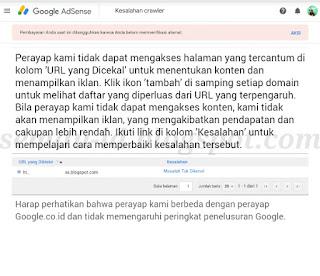 Cara Mengatasi Crawler Errors Pada Akun Google Adsense