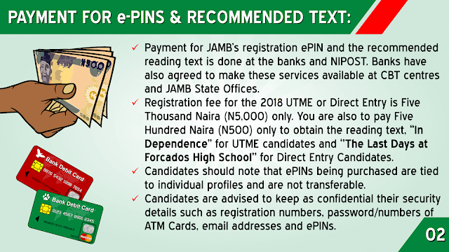 JAMB Payment of e-pins and Recommended Text