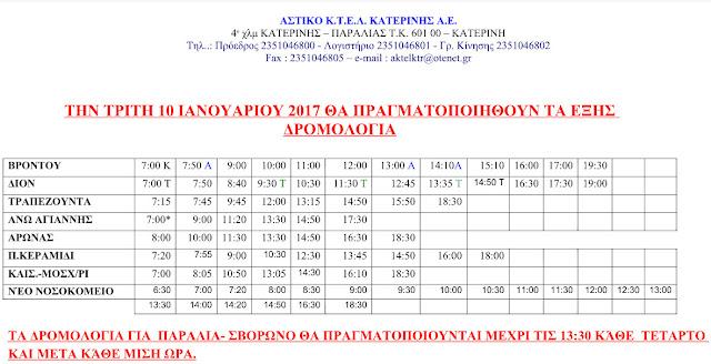 Δρομολόγια αστικού ΚΤΕΛ Κατερίνης. 10-1-17.
