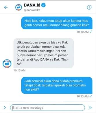 Chat dengan CS mengenai hapus akun dana