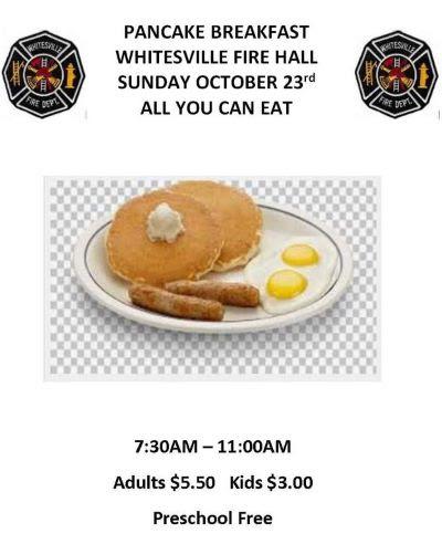 10-23 Pancake Breakfast, Whitesville, NY Fire Hall