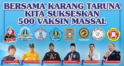 Bersama Karang Taruna Denpasar, SM TI Bali Global Badung Sukseskan 500 Vaksin Massal
