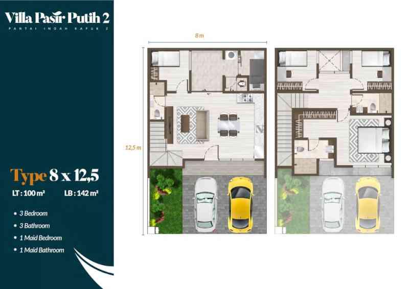 Denah Villa Pasir Putih 2 Tipe Mahogani