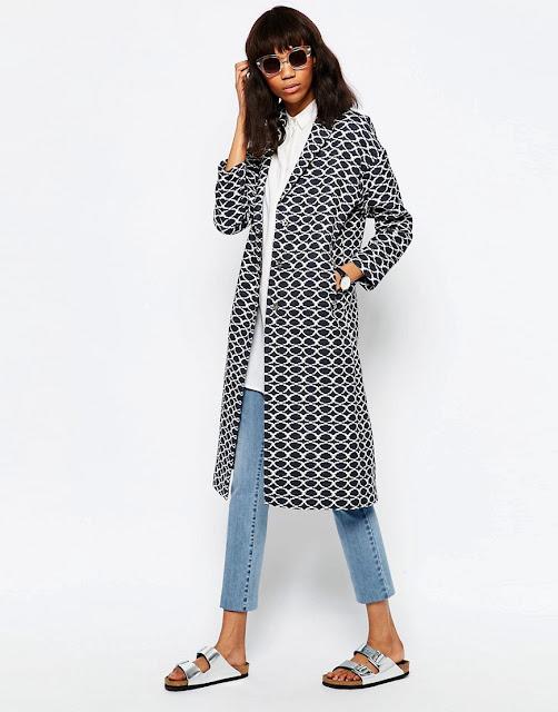 patterned duster coat, jacquard duster coat,