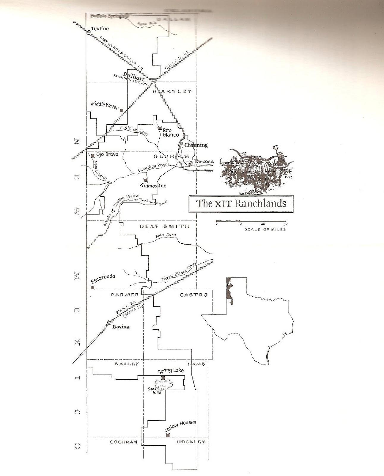 Map Of Xit Ranch Texas.Texas Ranches Xit Setup