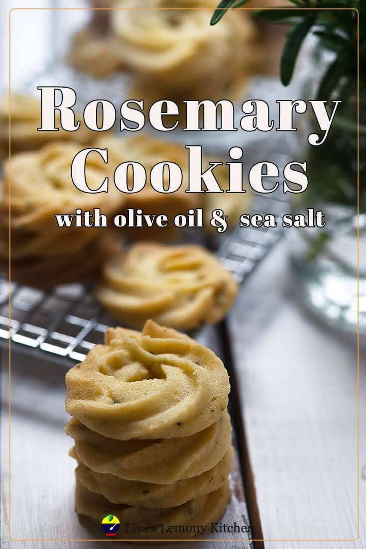 Delicate and elegant looking Rosemary olive oil Cookies . Wonderful flavour of rosemary, olive oil and sea salt combined with creamy butter taste and sweet are the best  savoury and sweet treat, that is perfect afternoon tea.