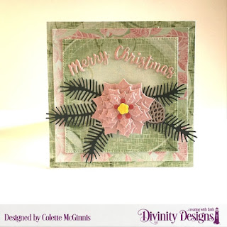 Custom Dies: Peaceful Poinsettia, Pine Branches, Holiday Word, Pierced Squares  Paper Collection: Christmas  2018