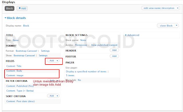 proses pembuatan slider dengan views bootstrap 2