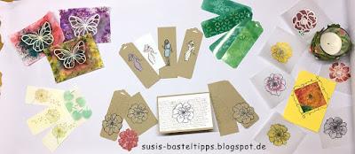 poppong pastels, versamark, resist, techniken, embossing, paper piecing, brusho, stempeltechnik