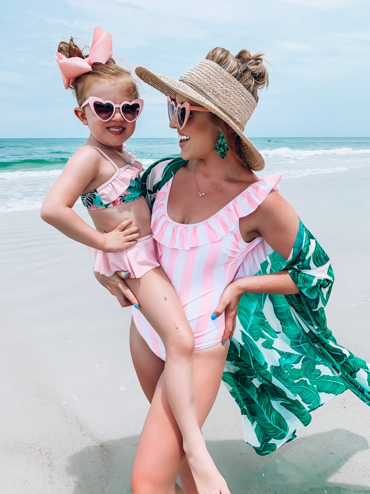 $40 Target Ruffle Back Swimsuit: Pink & White Stripes + Palm Print, Beach Style - Something Delightful Blog