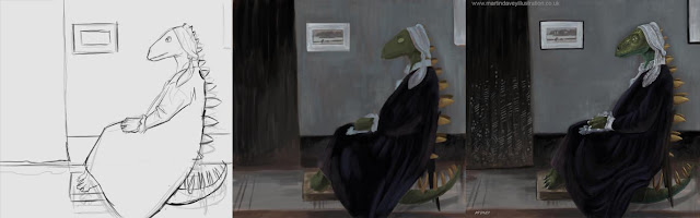 Whistlers mother dinosaur illustration in stages.