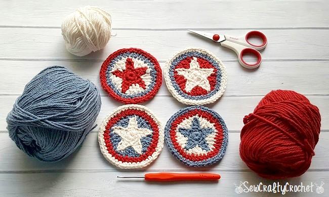 patriotic crochet star coasters pattern