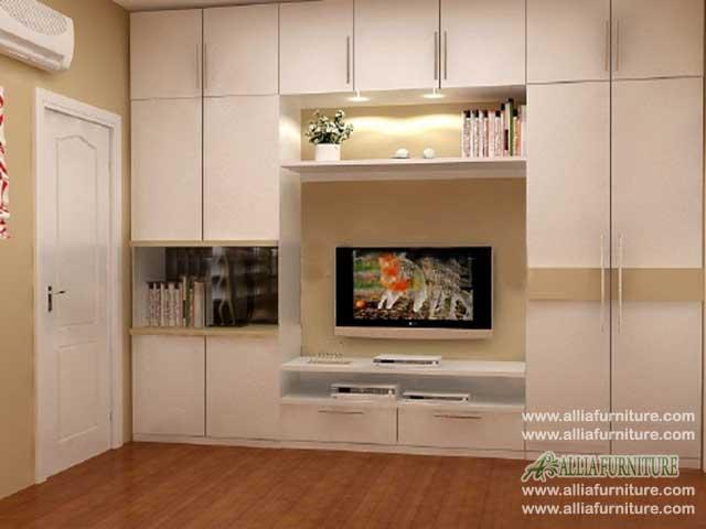 lemari pakaian tv minimalis model libra