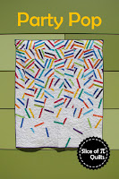 The Party Pop quilt pattern looks like falling confetti! A fun birthday, graduation, or anniversary quilt!