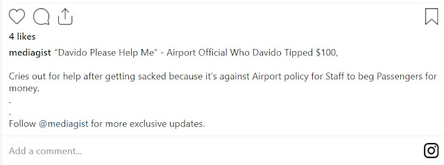 """""""Davido please tell them I did not beg you"""" – Airport official who Davido gifted $100 cries out after getting sacked over begging (Video"""