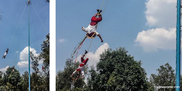 Voladores - ritual tradicional do México no Bosque de Chapultepéc