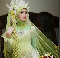 Contoh Model Baju Pengantin Muslim Warna Hijau