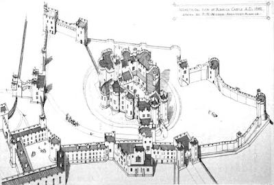 Vue isométrique du chateau d'Alnwick, 1866