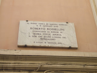 Photo of plaque commemorating Rossellini