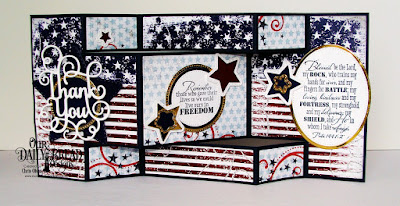 Our Daily Bread Designs, Remembrance, Stars and Stripes Paper, Tri-Shutter Card, Tri-Shutter Layers, Double Stitched Stars, Sparkling Stars, Ovals, Pierced Ovals, Circles, Pierced Circles, Thank You die, by Chris Olsen