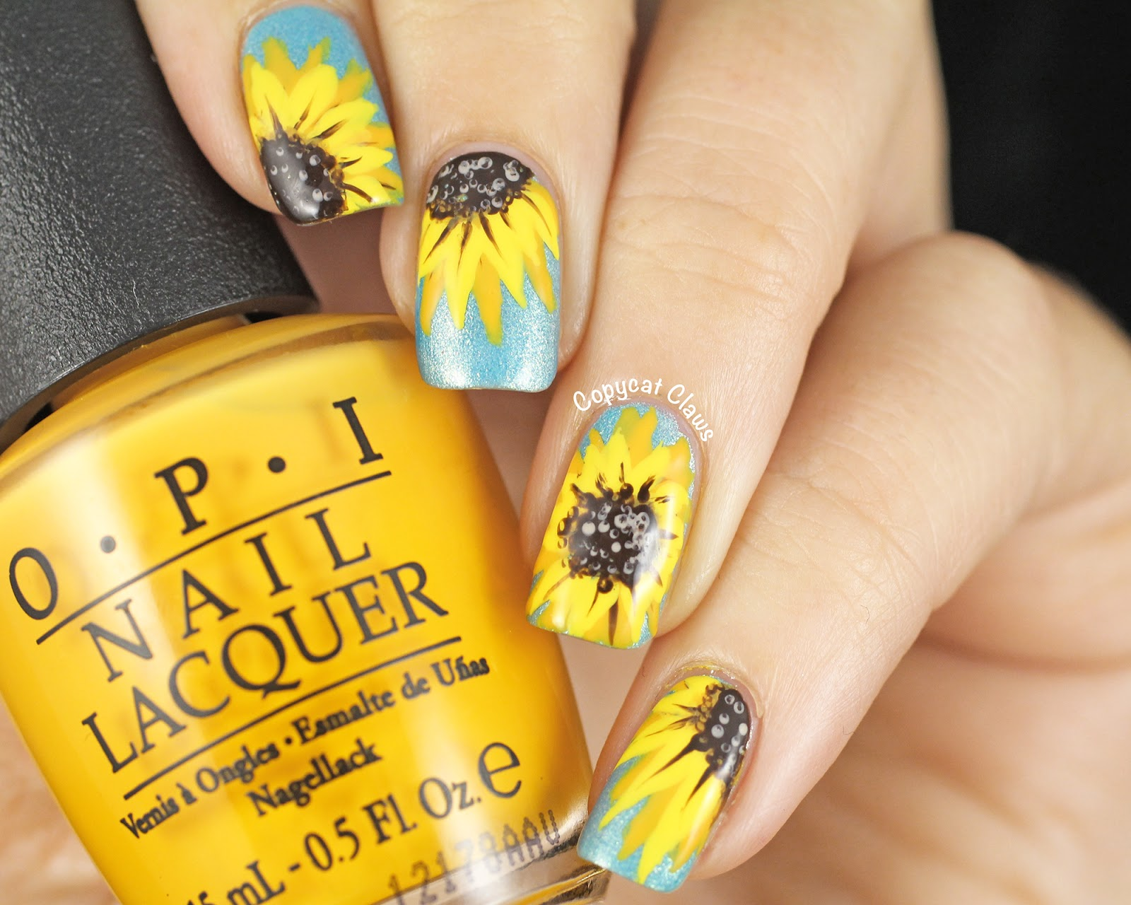 Copycat Claws: 31DC2014 Day 3 - Yellow Sunflower Nail Art