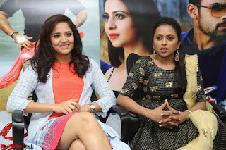 Actress Suma in Black Salwar Suit and Anusuya in orange Dress at winner movie press meet part 2 February 2017 (53).JPG