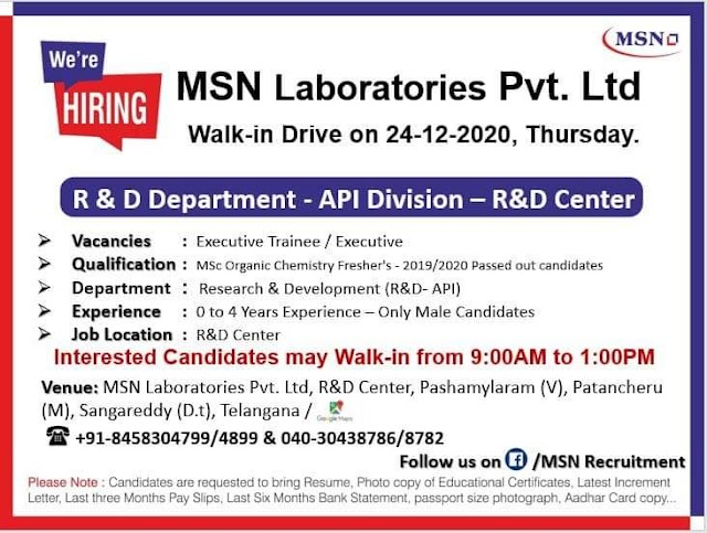 MSN Laboratories | Walk-in for Freshers and Experienced on 24th Dec 2020