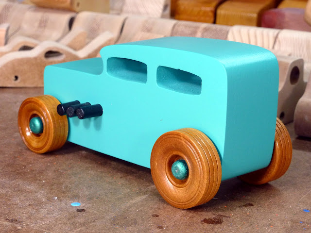 20170521-152859 Wooden Toy Car - Hot Rod Freaky Ford - 32 Sedan - MDF - Air Brushed Acrylyic