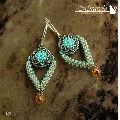 Miracolo, kolczyki z kwarcem i rivoli, quarz teradrop earrings,