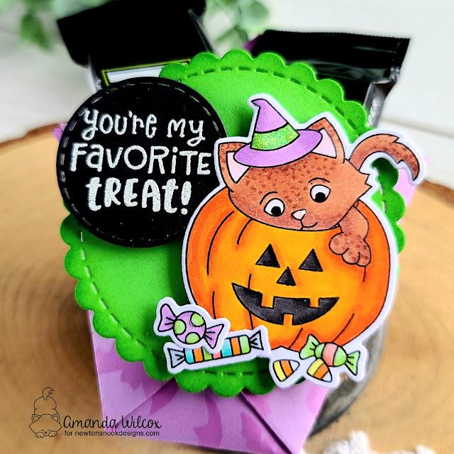 Halloween Treat holders by Amanda Wilcox | Trick or Treat Kittens Stamp Set by Newton's Nook Designs #newtonsnook #handmade