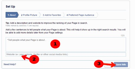 write about your page and add website url and save info