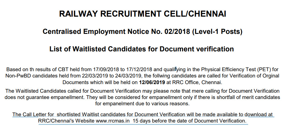 RAILWAY RECRUITMENT CELL CHENNAI List of Waitlisted Candidates for