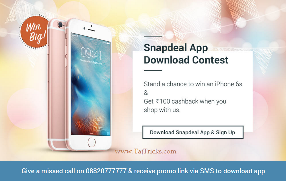 Downlaod_Snapdeal_App_win_iphone_Rs100_Cashback