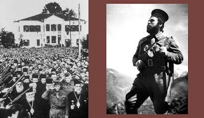 Αριστερά, παπάδες του ΕΑΜ στην Απελευθέρωση. Δεξιά, ο παπα-Ανυπόμονος