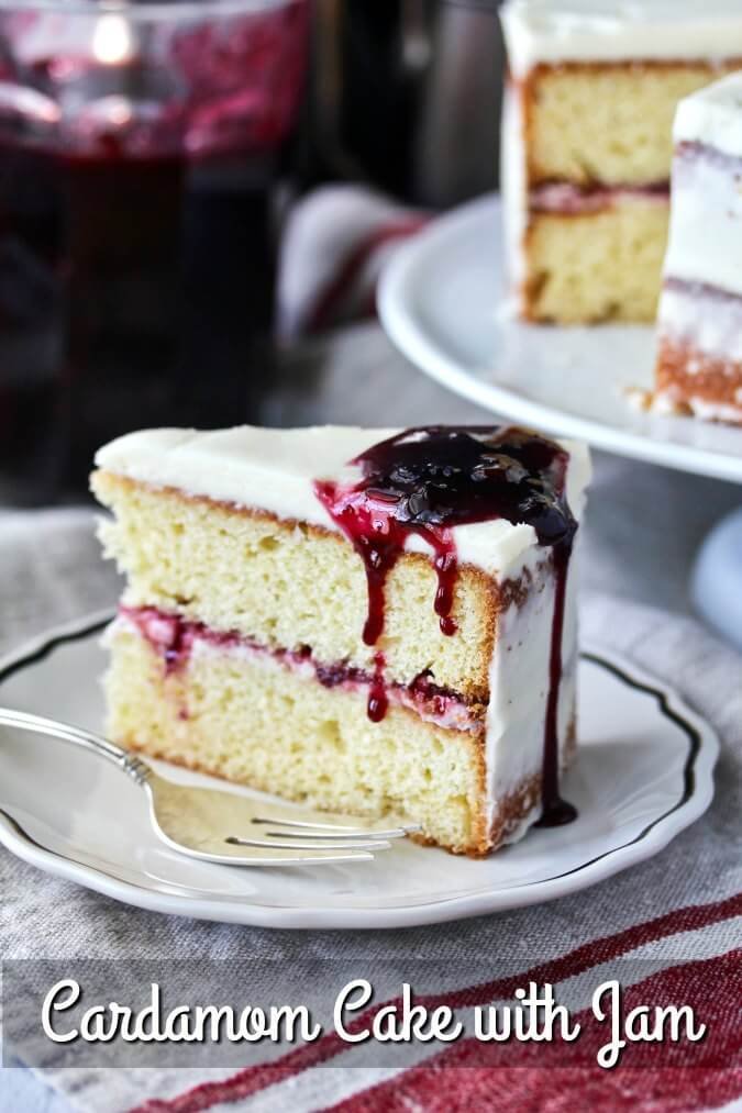 Cardamom Cake with Mulled Wine Jam with a mascarpone frosting