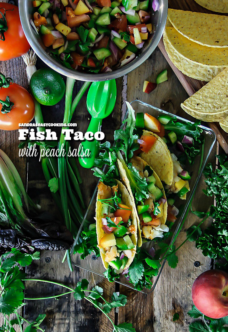 Fish Taco with Peach Salsa + video