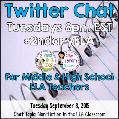 Join secondary English Language Arts teachers Tuesday evenings at 8 pm EST on Twitter. This week's chat will focus on using nonfiction in the ELA classroom.