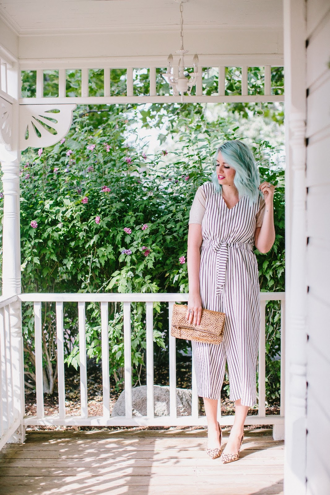 Utah Fashion Blogger, Striped Romper, Leopard Heels