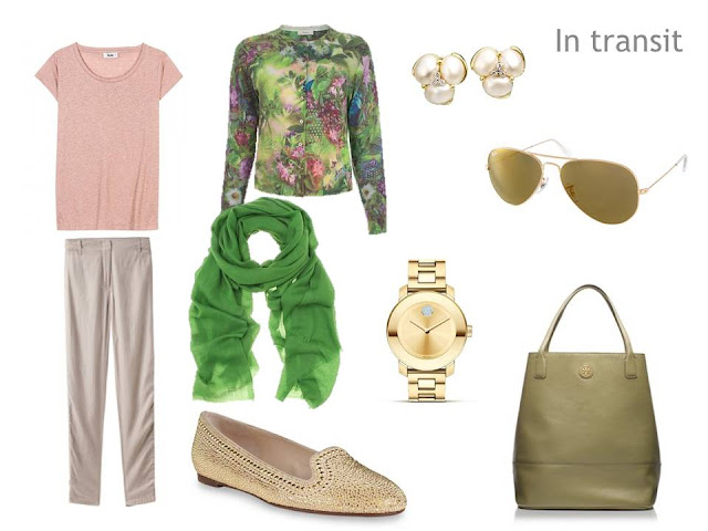 travel outfit of green floral cardigan, rose tee, beige pants and shoes, green scarf