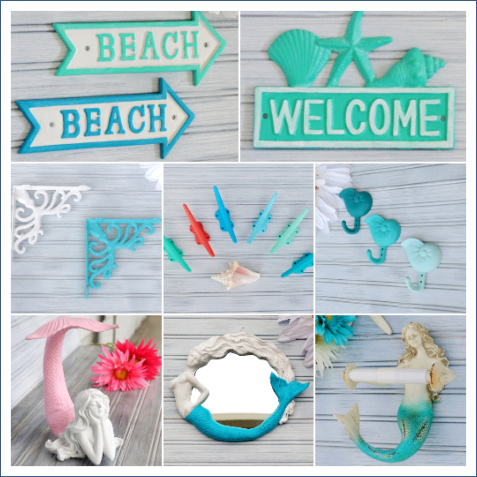 Colorful Coastal Hooks Iron Beach Signs Mermaid Figurines Accessories