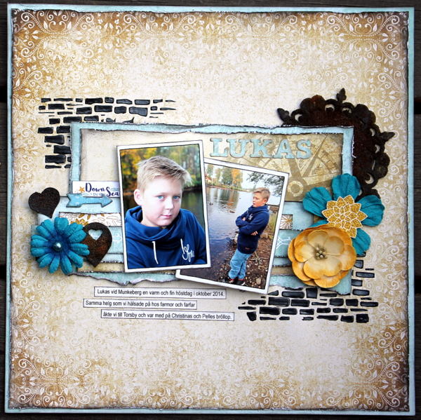 Lukas Scrapbook Page by Ulrika Wandler using BoBunny Down By The Sea Collection