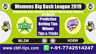 Who will win Today, WBBL T20 2019, 3rd Match HOBW vs MLSW