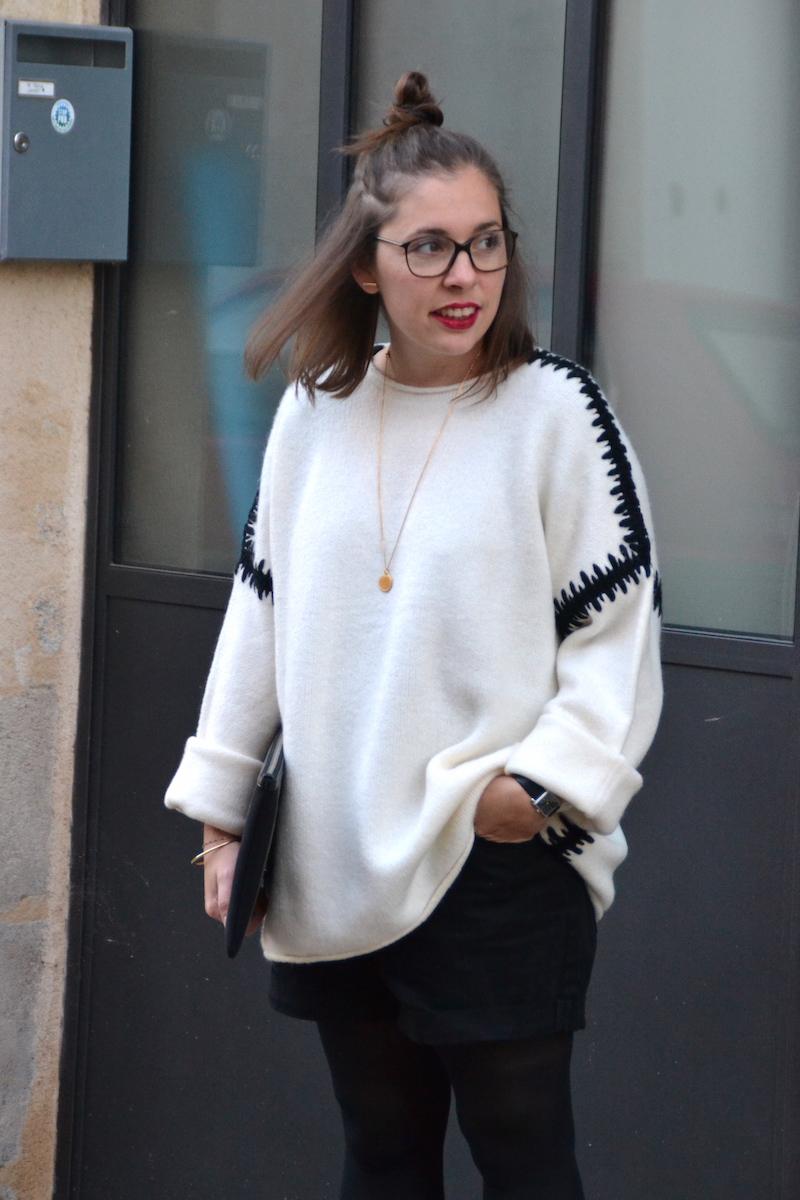pull blanc zara couture noire, short noir Pimkie